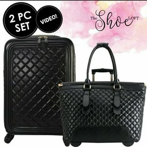 Quilted Rolling Trolley Carry On Travel Set